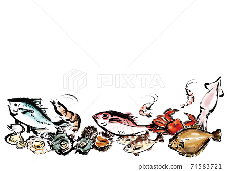 여백이있는 해물 집합 일러스트 74583721