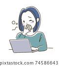 由於睡眠不足第二天睡不著的女人的插圖 74586643