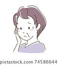 一名老婦因衰老而遭受身體變化的插圖 74586644