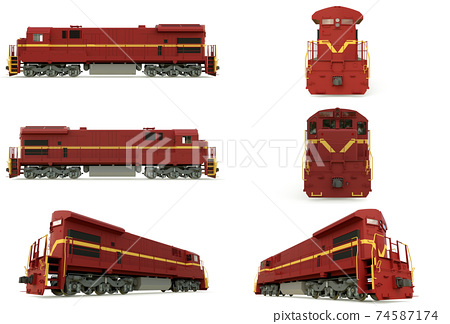 Modern diesel railway locomotive with great power and strength for moving long and heavy railroad train. 3d rendering. 74587174