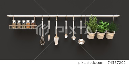 Kitchenware, dry bulk and live seasonings in pots hang on the wall. 3d rendering. 74587202