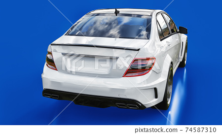 Super fast white sports car on a blue background. Body shape sedan. Tuning is a version of an ordinary family car. 3d rendering. 74587310