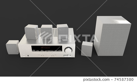 DVD receiver and home theater system with speakers and subwoofer made of aluminum. 3d illustration. 74587380