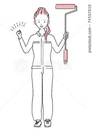 그린 1color DIY 여자 포니 테일 승리의 포즈 페인트 롤러 74587810