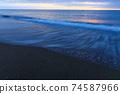 黃昏的大海,沙灘,日本海,2月 74587966
