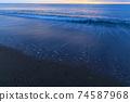 黃昏的大海,沙灘,日本海,2月 74587968