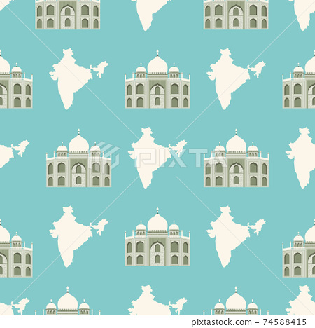 Seamless pattern with Tadj Mahal of Agra and map of India. 74588415