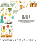 Travel poster with famous destinations and landmarks of India 74588417