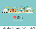 Travel poster with famous destinations and landmarks of India 74588420