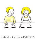 手繪1color學習時聊天的男孩和女孩1 74588915