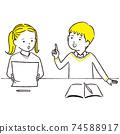 手繪1color男孩和女孩學習時聊天3 74588917