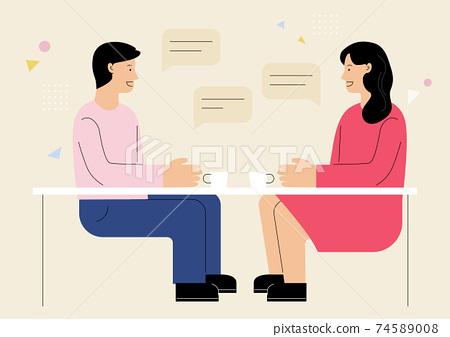 회의하는 남자와 여자 74589008