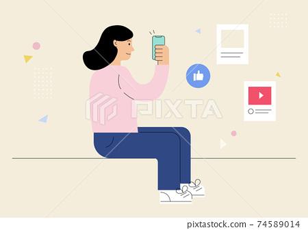 소셜미디어를 하고 있는 여자 74589014