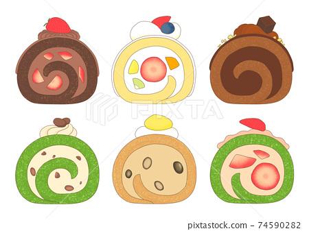 日式和西式蛋糕卷橫斷面 74590282