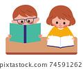독서 어린이 일러스트 74591262