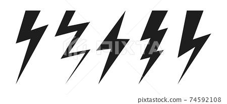 Thunder lighting bolt vector design illustration isolated on white background 74592108
