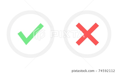Tick and cross vector design illustration isolated on white background 74592112