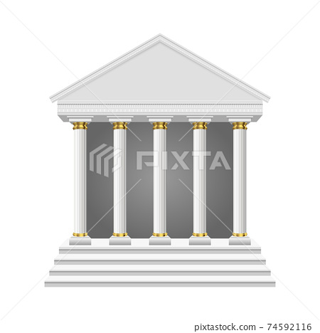 Ancient temple vector design illustration isolated on white background 74592116