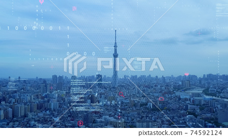 Cities and technologies Digital transformation 74592124