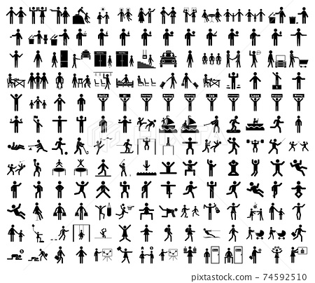 A set of stick figures on the theme of lifestyle, people in a variety of life situations. A set of icons of people in different poses and movements. 74592510