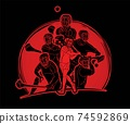 Irish Hurley Sport. Group of Hurling Sport Players Action. Cartoon Graphic Vector 74592869