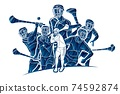 Irish Hurley Sport. Group of Hurling Sport Players Action. Cartoon Graphic Vector 74592874