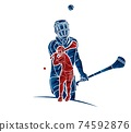 Irish Hurley Sport. Group of Hurling Sport Players Action. Cartoon Graphic Vector 74592876