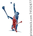 Irish Hurley Sport. Group of Hurling Sport Players Action. Cartoon Graphic Vector 74592877