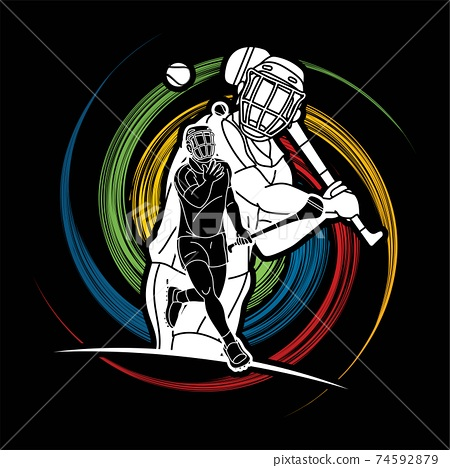 Irish Hurley Sport. Group of Hurling Sport Players Action. Cartoon Graphic Vector 74592879