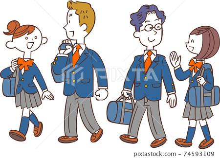 男女學生步行上學 74593109