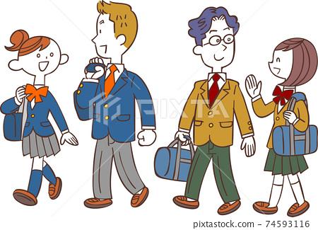男女學生步行上學 74593116