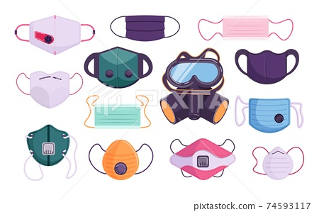 Different gas pollution and medical protection face mask set 74593117