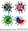 Various mutation of the coronavirus - covid-19 74593702