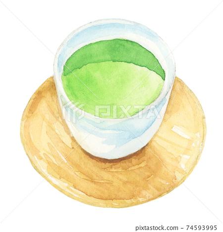 Japanese tea, green tea [hand-painted watercolor] 74593995