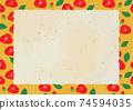 復古山茶花背景框架 74594035