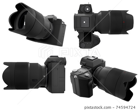 Concept of nonexistent DSLR camera with macro lens isolated on white background. 74594724