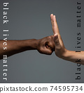 African and caucasian hands gesturing on gray studio background, tolerance and equality concept 74595734