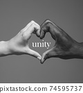 African and caucasian hands gesturing on gray studio background, tolerance and equality concept 74595737