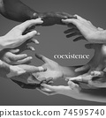 African and caucasian hands gesturing on gray studio background, tolerance and equality concept 74595740