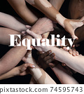 African and caucasian hands gesturing on gray studio background, tolerance and equality concept 74595743