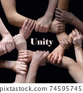 African and caucasian hands gesturing on gray studio background, tolerance and equality concept 74595745