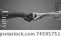 African and caucasian hands gesturing on gray studio background, tolerance and equality concept. Unity. 74595751