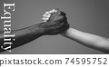 African and caucasian hands gesturing on gray studio background, tolerance and equality concept 74595752