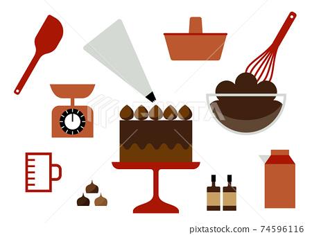 巧克力蛋糕製作插圖 74596116