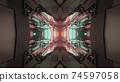 3d illustration of futuristic glowing corridor 74597058