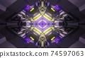 3d illustration of dark illuminated corridor 74597063
