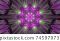 Colorful kaleidoscopic pattern with glowing lights 3d illustration 74597073