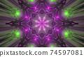 Glowing sci fi gateway with geometric ornament 3d illustration 74597081