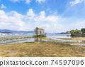 히로시마 현 하츠 카이 치시 미야지마 이쓰 쿠시마 신사 令和 수리 공사중의 도리 74597096