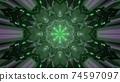 Green crystal shaped futuristic pattern 3d illustration 74597097